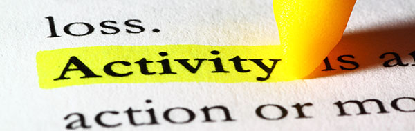 Activity Banner - Word activity highlighted with a yellow marker
